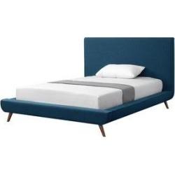 Loft Lyfe Platform Bed - Linen/ Walnut Tapered Legs (Denim - Full), Blue found on Bargain Bro Philippines from Overstock for $864.49
