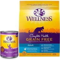 Wellness Complete Health Turkey & Salmon Formula Grain-Free Canned Cat Food, 12.5-oz, case of 12 + Wellness Complete Health Natural Grain Free Deboned Chicken & Chicken Meal Dry Cat Food, 11.5-lb bag