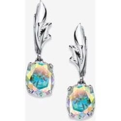 Women's Sterling Silver Drop Earrings, Oval Aurora Borealis Cubic Zirconia by PalmBeach Jewelry in Sterling Silver found on Bargain Bro Philippines from Ellos for $39.99