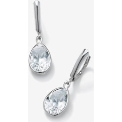 Women's Sterling Silver Drop Earrings Pear Cut Simulated Birthstones by PalmBeach Jewelry in April found on Bargain Bro Philippines from Ellos for $29.99