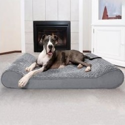 FurHaven Ultra Plush Luxe Lounger Orthopedic Cat & Dog Bed w/Removable Cover, Gray, Giant found on Bargain Bro India from Chewy.com for $124.99