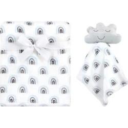 Hudson Baby Boys' Lovey Blankets Cloud - White Rainbow Cloud Security Blanket & Swaddling Blanket
