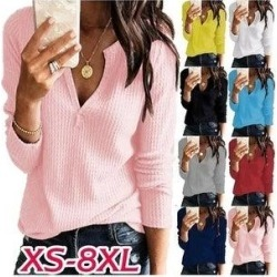 Plus Size Xs-5Xl Summer Fashion Ladies Tops Women Pure Color Casual Shirts V- Neck Blouse Long Sleeve Shirt Loose (Blue - 4XL), Women's found on Bargain Bro Philippines from Overstock for $26.51