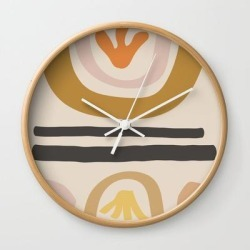 Wall Clock | Found Flowers by Urban Wild Studio Supply - Natural - White - Society6 found on Bargain Bro from Society6 for USD $19.45