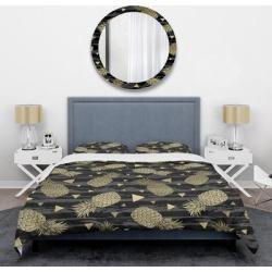 Designart 'Golden Pineapple On Black' Mid-Century Duvet Cover Set (King Cover + 2 king Shams (comforter not included)), DESIGN ART found on Bargain Bro from Overstock for USD $107.53