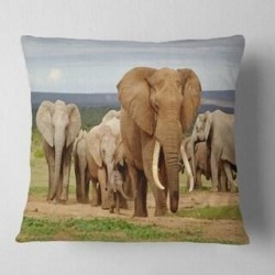 Designart 'Large Elephant Herd in Africa' African Throw Pillow (Square - 16 in. x 16 in. - Small), Brown, DESIGN ART(Polyester, Animal) found on Bargain Bro from Overstock for USD $23.93