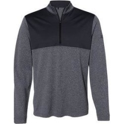 Adidas Men's Lightweight Quarter Zip Pullover, Bold Colors (2XL - Black Heather/Carbon)(polyester, Solid) found on Bargain Bro Philippines from Overstock for $54.49