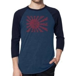 Los Angeles Pop Art Men's Raglan Baseball Word Art T-shirt - Lyrics to The Japanese National Anthem (denim / navy - l), Blue found on Bargain Bro India from Overstock for $25.19