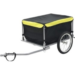 vidaXL Bike Cargo Trailer Black and Yellow 65 kg found on Bargain Bro Philippines from Overstock for $182.99