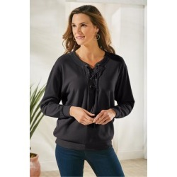 Larimar Pullover Top by Soft Surroundings, in Black size XS (2-4)