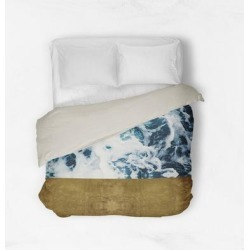 Oliver Gal 'Mykonos Water Gold'Duvet Cover (Twin), Blue, The Oliver Gal Artist Co. found on Bargain Bro from Overstock for USD $93.13