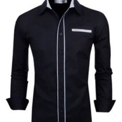 New Fashion Luxury Hit Color Simple And Stylish Men's Suit Casual Shirt (Black - M)(cotton, spot) found on Bargain Bro Philippines from Overstock for $34.12