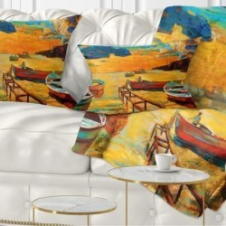 Designart 'Boats in Beautiful Sea' Seascape Throw Pillow found on Bargain Bro from Overstock for USD $23.25