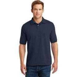 petite Hanes Eco Smart Men's Jersey Knit Sport Polo Shirt (L - Navy), Blue found on Bargain Bro India from Overstock for $20.04