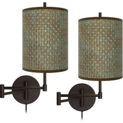 Interweave Patina Tessa Bronze Swing Arm Wall Lamps Set of 2 found on Bargain Bro from LAMPS PLUS for USD $151.99