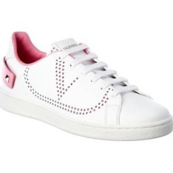 Valentino Vlogo Backnet Leather Sneaker (37.5), Women's, Pink found on Bargain Bro Philippines from Overstock for $626.99
