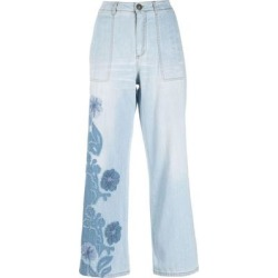 Floral Pattern Wide-leg Jeans - Blue - Ermanno Scervino Jeans found on Bargain Bro from lyst.com for USD $436.24