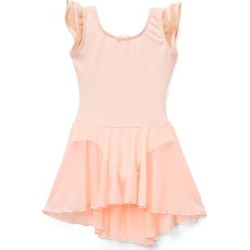 Elowel Girls' Leotards Nude - Nude Pink Flutter-Sleeve Skirted Leotard - Girls found on Bargain Bro India from zulily.com for $16.99