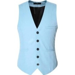 Men's V-Neck Sleeveless Suit Vest Casual Slim Fit Skinny Top Designed Waistcoat (Green - L)(cotton) found on Bargain Bro Philippines from Overstock for $40.17