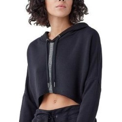 Splendid Women's French Terry Striped Asymmetric Cropped Activewear Hoodie (Black - XS)(polyester) found on Bargain Bro from Overstock for USD $14.32