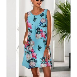Camisa Women's Casual Dresses Blue - Blue Rose Pocket Sleeveless Dress - Women found on Bargain Bro from zulily.com for USD $12.91