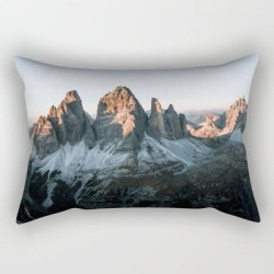 Dolomites Sunset Panorama - Landscape Photography Rectangular Pillow by Michael Schauer - Small (17