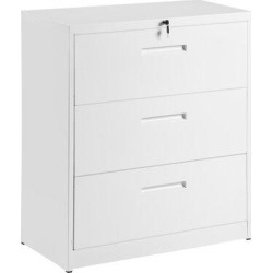 Inbox Zero TREXM Lateral File Cabinet Lockable Heavy Duty Metal 3 Drawer File Cabinet () Metal in White, Size 40.3 H x 35.4 W x 17.7 D in | Wayfair found on Bargain Bro Philippines from Wayfair for $479.99