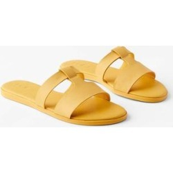 Modern Slide Sandals - Yellow - LOFT Flats found on Bargain Bro India from lyst.com for $60.00