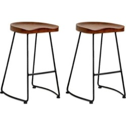 Mod Made Potter Wood 26-inch High Counter Stool (Set of 2) (Walnut), Brown