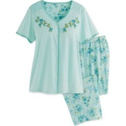 Women's Knit Capris PJ Set, Mint Green S Misses found on Bargain Bro from Blair.com for USD $16.71