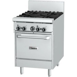 """Garland GFE24-4L Liquid Propane 4 Burner 24"""" Range with Flame Failure Protection, Electric Spark Ignition, and Space Saver Oven - 240V, 136,000 BTU"""