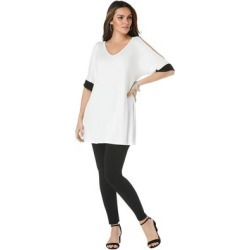 Plus Size Women's Cold-Shoulder Lounge Set by Roaman's in Colorblock Black White (Size 22/24) found on Bargain Bro Philippines from fullbeauty for $39.99