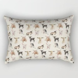 Rectangular Pillow | Vintage Goat All-over Fabric Print by Longbourn Art And Design - Small (17
