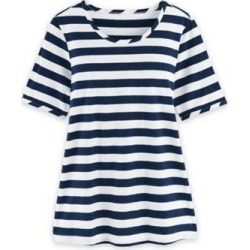 Women's Plus Short-Sleeve Stripe Active Top, Navy Blue 2XL found on Bargain Bro from Blair.com for USD $19.75