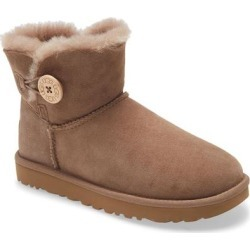 UGG Mini Bailey Button Ii Genuine Shearling Boot - Brown - Ugg Boots found on Bargain Bro from lyst.com for USD $58.52