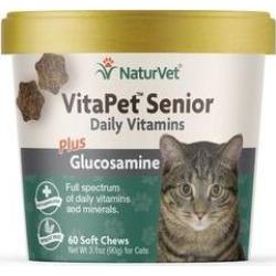 NaturVet VitaPet Senior Daily Vitamins Plus Glucosamine Cat Soft Chews, 60 count