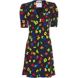 Printed Stretch-crepe Wrap Dress - Black - Moschino Dresses found on Bargain Bro Philippines from lyst.com for $542.00