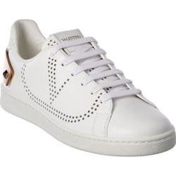 Valentino Vlogo Backnet Leather Sneaker (37), Women's, White found on Bargain Bro Philippines from Overstock for $626.99