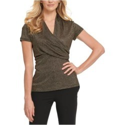 petite DKNY Womens Gold Short Sleeve V Neck Blouse Evening Top Size M (Gold - M), Women's(knit, Solid) found on Bargain Bro India from Overstock for $29.98