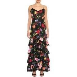 Floral Print Crepe Maxi Dress - Black - Marchesa notte Dresses found on MODAPINS from lyst.com for USD $595.00