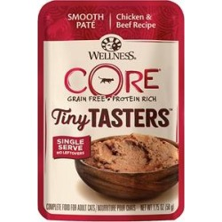 Wellness CORE Tiny Tasters Chicken & Beef Pate Grain-Free Cat Food Pouches, 1.75-oz, pack of 12