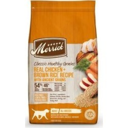 Merrick Classic Healthy Grains Real Chicken + Brown Rice Recipe with Ancient Grains Adult Dry Dog Food, 4-lb bag