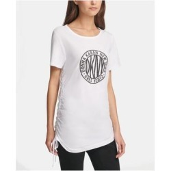 petite DKNY Womens White Ruched Printed Short Sleeve Crew Neck Top Size M (White - M), Women's(knit, Solid) found on Bargain Bro India from Overstock for $30.98