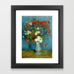 Framed Art Print   Vincent Van Gogh Vase With Cornflowers And Poppies by Art Gallery - Vector Black - X-Small-10x12 - Society6 found on Bargain Bro from Society6 for USD $31.61