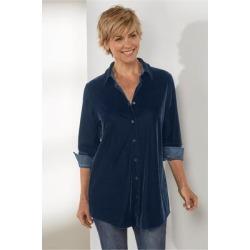 Women's Petites Velvet Boyfriend Shirt by Soft Surroundings, in Navy size PXS (2-4)