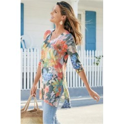 Women's Wild Flower Tunic Top by Soft Surroundings, in Navy size XS (2-4)