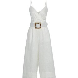 Seta Cropped Belted Linen Wide-leg Jumpsuit - White - Nicholas Jumpsuits found on MODAPINS from lyst.com for USD $222.00