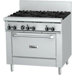 """Garland GFE36-2G24R Natural Gas 2 Burner 36"""" Range with Flame Failure Protection and Electric Spark Ignition, 24"""" Griddle, and Standard Oven - 120V, 126,000 BTU"""
