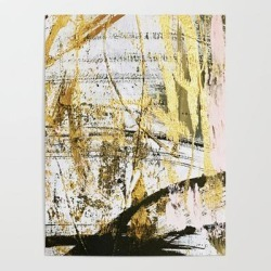 "Art Poster | Armor [11]: A Bold, Elegant Abstract Mixed Media Piece In Gold Pink Black And White by Alyssa Hamilton Art - 18"" X 24"" - Society6"