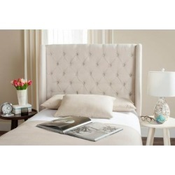 Safavieh London Creme Upholstered Tufted Wingback Headboard (Twin) (Creme), Ivory found on Bargain Bro Philippines from Overstock for $281.49